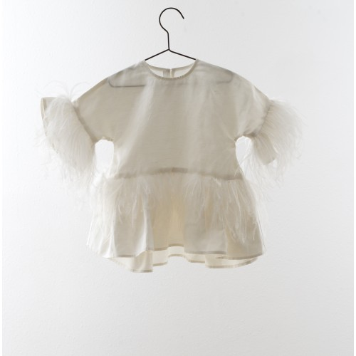 Vestido blanco con plumas YOU&ME