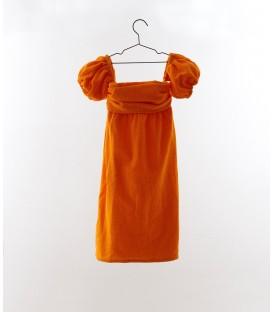 Vestido sin hombros bordado suizo mandarina YOU&ME