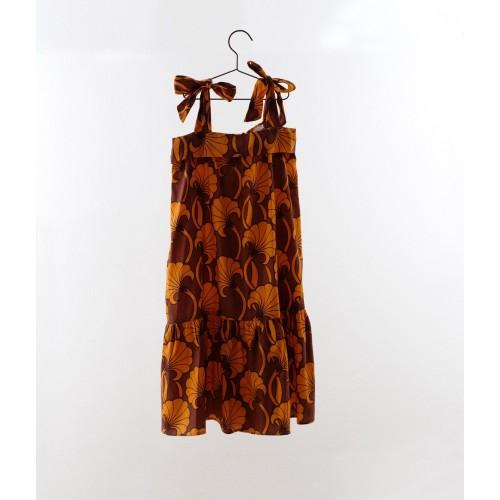 Vestido nudos estampado flores naranja YOU&ME