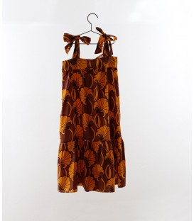 Dress with bow print orange flowers YOU&ME