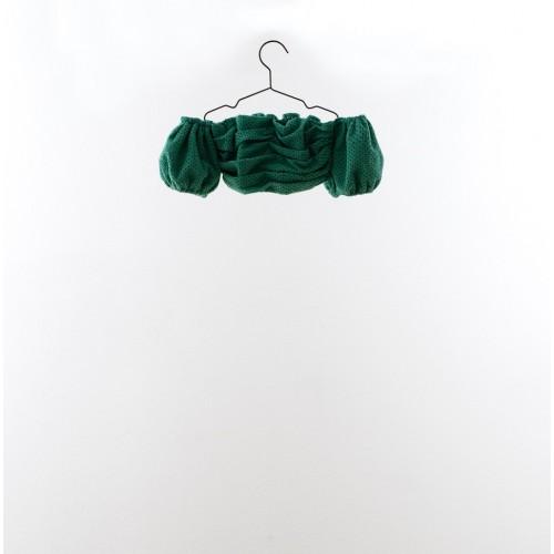 Top cropped bordado suizo verde YOU&ME