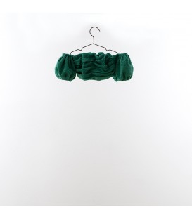 Top cropped bordado suizo verde YOU&ME