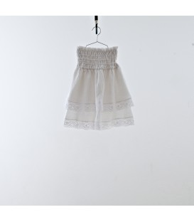 Falda blanca volante efecto arrugado YOU&ME